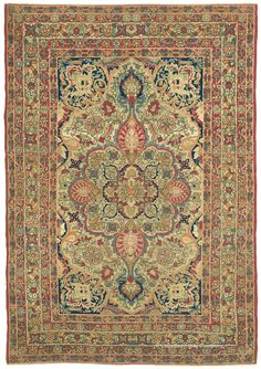 LAVER KIRMAN, Southeast Persian 4ft 4in x 6ft 3in Circa 1850  This early rug offers a singular elegance. A sublime work in the Persian Court style, this virtuoso antique area size's gracious design and delicate shading of naturally dyed hues is astonishing. While it would enhance either floor or wall, viewing this piece vertically as a painting would especially allow for appreciating the subtleties of early Persian weaving.
