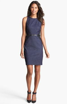 Nicole Miller Leather Trim Denim Sheath Dress available at #Nordstrom