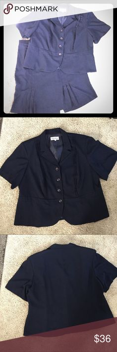 """Beautiful Navy Blue Suit Top/Jacket has a detachable rose pin, and skirt has nice pleated detail. Excellent used condition. No blouse needed.   TOP/JACKET  Length: 27"""" Bust: 50"""" Shoulder: 19"""" Hip: 56"""" Sleeve Length: 11"""" Sleeve Width: 18""""  SKIRT Length: 26"""" Waist: 41"""" Hip: 52"""" Back Vent Length: 7.5"""" Danny & Nicole Other"""
