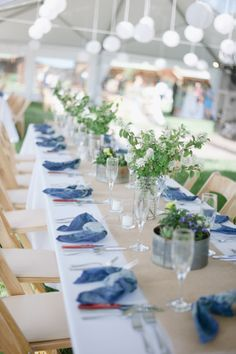 blue reception table http://www.weddingchicks.com/2013/10/09/romantic-ranch-wedding/