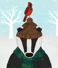 Winter Chums, A3 sized illustration of a badger and a Red Cardinal in the snow £10.00
