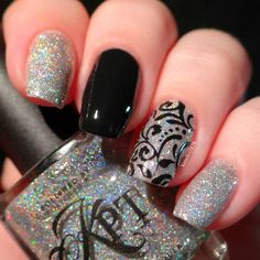"""""""This is 'Pure' from the Pure Lust Valentine's Day box from @polishedbykpt. 'Pure' is a clear base polish with platinum and silver flakes with holographic…"""""""