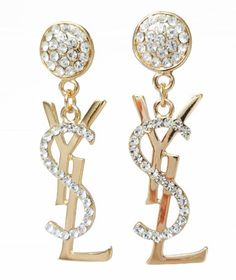 24k Gold Plated YSL and Crystal Diamonds Drop Earring. -