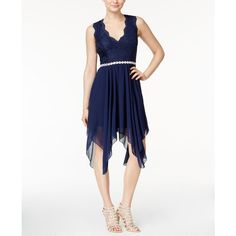 City Studios Juniors' Embellished Handkerchief-Hem Dress ($79) ❤ liked on Polyvore featuring dresses, navy, white dress, jewel dress, handkerchief hem dress, embellished dress and white jeweled dress