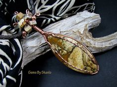African Queen Picture Jasper wire wrapped handmade pendant for necklace by Shanlo