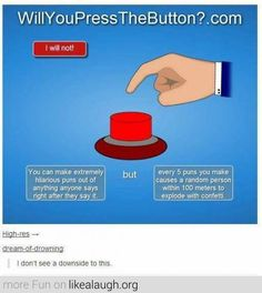 Where is the red button.