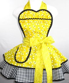 Yellow Bumble Bee Apron with Gingham by sjcnace4