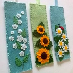 This is soft to touch felt bookmark. I hand-sewn and embroidered lovely spring time flowers Daisies. I added one small ladybug. I love those little