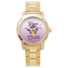 Shop Yoga Chick Watch created by ChickShop. Yoga Gifts, Stylish Watches, Lacrosse, Gold Watch, Bracelet Watch, Quartz, Monogram, Unisex, Metal