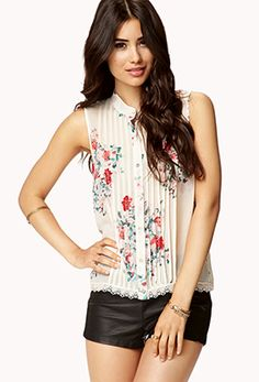 $19.80 // Floral Pintucked Top