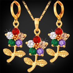 Flower Earing And Necklace Sets For Women  Fashion Yellow Gold Color Colorful Crystal Cubic Zirconia Jewelry Set PE1120