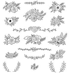 Posies Flower Bouquets Vector Illustrations AI by rachelwhitetoo Flower Embroidery Designs, Hand Embroidery Patterns, Embroidery Art, Embroidery Stitches, Design Set, Posy Flower, Flower Bouquets, Floral Drawing, Brazilian Embroidery