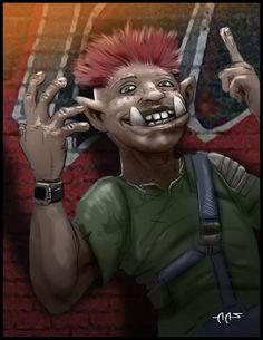 Pip - Shadowrun Orc Underground street kiddo by raben-aas on deviantART