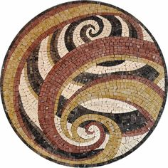 Swirl Design Rondure - Dabira Mosaic - Marguerite Home Pebble Mosaic, Mosaic Diy, Mosaic Crafts, Mosaic Projects, Mosaic Wall, Mosaic Glass, Mosaic Tiles, Glass Art, Stained Glass