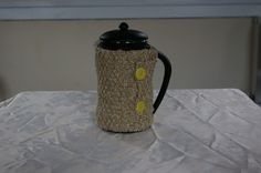 Cafetiere Cosy hand knitted in beige and gold fleck £8.00