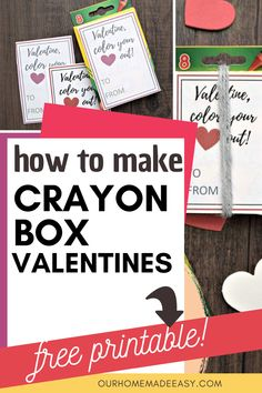 Crayon box valentines are so fun for preschoolers! They're kid-approved, because they're fun, and mom-approved because they aren't candy! Get the full instructions and free printables to make your own! Valentine Desserts, Valentine Box, Valentines Day Gifts For Him, Valentines Day Party, Valentine Day Crafts, Craft Activities For Toddlers, Valentines Day Activities, Easy Crafts To Make, Fun Crafts