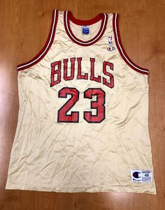 8d53baaee406 Vintage 1998 Michael Jordan Chicago Bulls Champion Gold Jersey Size 48 nba  finals hat shirt scottie