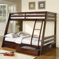 Modern Cappuccino Twin over Full Bunk Bed with Storage Drawers