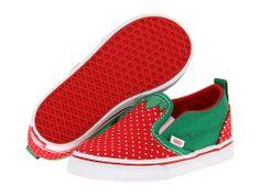 Vans Kids Slip-On V (Toddler) (Strawberry) Red/True White - Zappos.com Free Shipping BOTH Ways