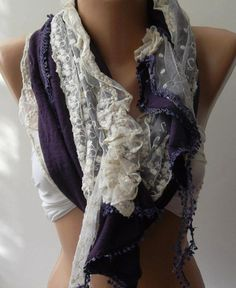 Purple  Elegance Shawl / Scarf with Lace Edge  $19.90