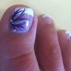 46 Ideas French Pedicure Designs Toenails Ideas For 2019 Purple Toe Nails, Fancy Nails, Love Nails, Pretty Nails, My Nails, Pretty Toes, Beach Toe Nails, Purple Toes, French Pedicure
