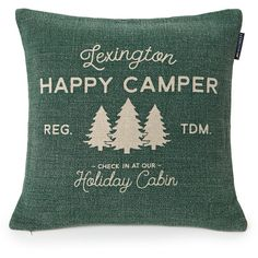 Lexington Happy Camper Sham ($98) ❤ liked on Polyvore featuring home, bed & bath, bedding, bed accessories, green, green pillow shams, lexington bedding and green bedding