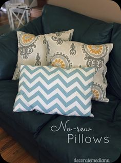 Great idea for those of us who don't sew!  Decorate Me Diana: No-Sew Pillows