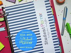 2014-2015 Student Planner PDF Printable Pages - INSTANT DOWNLOAD - Navy Stripe, dated aug 2014 to aug 2015 Back to School
