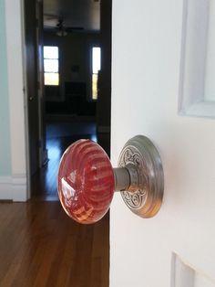Crystal Doorknob Set Handpainted Glass Purple Amethyst Clear 2