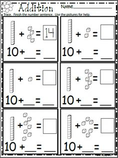 Free Math Addition Worksheet for Kindergarten Free spring math worksheet. Add the base ten blocks and write the missing numbers. More spring worksheets available. Check out my spring pro Kindergarten Addition Worksheets, 1st Grade Math Worksheets, Numbers Kindergarten, Math Numbers, Printable Worksheets, Kindergarten Common Core, Missing Number Worksheets, Kindergarten Math Activities, Teacher Worksheets
