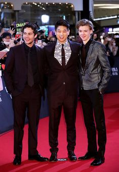 Dylan O´Brien, Ki Hong Lee and Thomas Sangster at the Maze Runner: The Death Cure premiere in South Korea