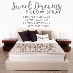 {new} Love of Essential Oils Restful sleep is a spray away with this nontoxic recipe: Sweet Dreams Pillow Spray, featuring Young Living essential oils.Sweet Dreams Sweet Dreams may refer to: Essential Oil Spray, Essential Oils For Sleep, Yl Essential Oils, Young Living Essential Oils, Essential Oil Diffuser, Essential Oil Blends, Yl Oils, Doterra Oils, Young Living Sleep