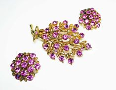 New Listings Daily - Follow Us for UpDates -  PInk Rhinestone Flower Pin & Earrings Set - Bouquet of Flowers Brooch Matching Clip ons - Pave Set Chaton Rhinestones - #Vintage 1950s 1960s #jewelry offered by TheJewelSeeke... #teamlove #etsyretwt