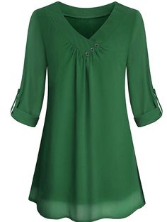 Miusey Tunic Tops for Leggings for Women Juniors Trendy Roll Sleeve Pleat Dreey Shirts Misses Chic Knit College Nice Button Décor Peach V Neck Woven Chiffon Blouses Army Green Medium Chiffon Ruffle, Chiffon Shirt, Chiffon Tops, Blouse Styles, Blouse Designs, Tunic Tops For Leggings, Tunic Shirt, Leggings Store, Mode Hijab