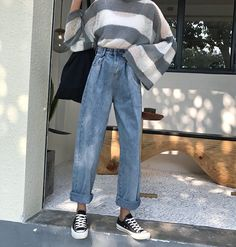 2018 New Elastic Waist Woman Denim High Waist Casual Pockets Oversize Loose Jean. - 2018 New Elastic Waist Woman Denim High Waist Casual Pockets Oversize Loose Jeans Vintage Bleached Curl Wide Leg Pants Source by livdannenberg - Casual Fall Outfits, Retro Outfits, Vintage Outfits, Vintage Clothing Styles, Casual Ootd, Vintage Pants, Mode Outfits, Korean Outfits, Fashion Outfits