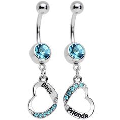 Baby Blue Gem Best and Friends Matching Heart Dangle Belly Ring Set | Body Candy Body Jewelry