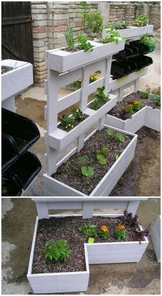 Recycled pallet planter is the best idea for your plants as well as your old pallets can be used in this way. This white pallet planter gives fantastic and nice looks to your garden. This pallet planter divided is in three different sizes of portions so i Vertical Pallet Garden, Vertical Gardens, Vertical Planter, Pallet Gardening, Organic Gardening, Pallet Patio, Container Gardening, Sustainable Gardening, Gardening Tips
