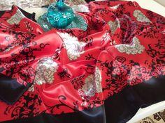 Satin like Silk scarves, Floral design, 90cm x 90cm by easycity on Etsy