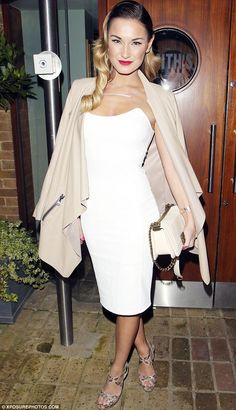 Shine bright: Sam Faiers wowed in a white figure-hugging number as she headed out for dinner at Smiths restaurant in Ongar, Essex on Thursda...