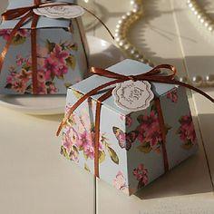 Caixas de Ofertas ( Azul Claro , Papel de Cartão ) Tema Flores/Tema Borboleta - não-personalizado – EUR € 8.99