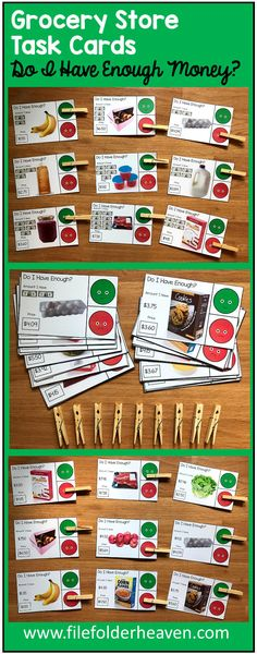 """These Grocery Store Task Cards (W/Real Photos) help students answer the question, """" Do I Have Enough Money?"""" This task card set includes 2 different sets of task cards with 30 cards in each set, for a total of 60 cards. This set includes large task cards and uses real photos of grocery store items. In the first set, students are given a numerical amount of money, and a price for the grocery store item shown, and have to determine whether they have enough money to purchase it. In the second…"""