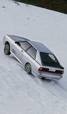 Audi Quattro, '82 Quattro in Diamond Silver proving that Quattro's don't just drive up Ski slopes, they leap up them..