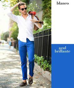 Blanco + azul brillante