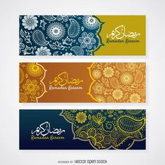 Elegant banner designs for Ramadan. Designs feature floral shapes and paisley decorations, along with space for text that says Ramadan Kareem in english