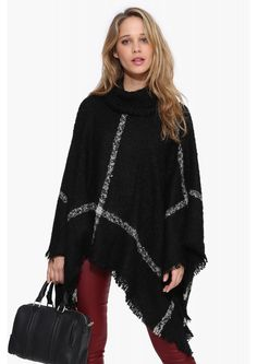 Plaid Poncho Sweater in Black/white   Necessary Clothing