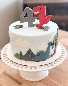 Dinosaur theme birthday cake rex the dinosaur cake Dinosaur Birthday Cakes, 4th Birthday Cakes, Dinosaur Party, Birthday Parties, Boys First Birthday Cake, Dinosaur Dinosaur, Dinosaur Cupcakes, 25th Birthday, Theme Parties