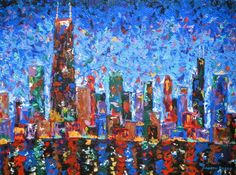 City Skyline Print featuring the painting Celebration City by J Loren Reedy