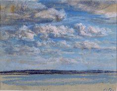 Eugène Boudin, Nuages blancs, ciel blu, Honfleur, vers 1859