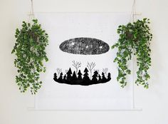Rustic Woodland Forest Illustration Large Wall Tapestry Home Decor Wall Hanging Banner Wall Art