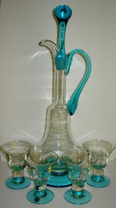 VTG MID CENTURY MODERN MURANO GLASS DECANTER SET LIQUOR AQUA ITALY TOSO BLOWN 6p | eBay
